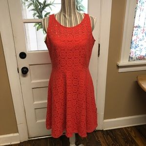 Nine West coral lace fit & flare sleeveless dress